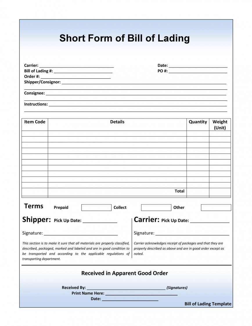 008 Marvelou Bill Of Lading Short Form Template Word Image