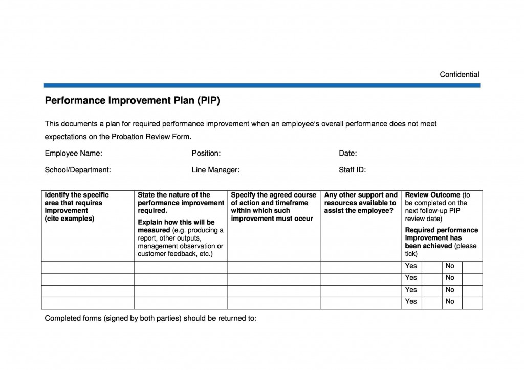 008 Marvelou Employee Improvement Plan Template Picture  Work Performance ExampleLarge