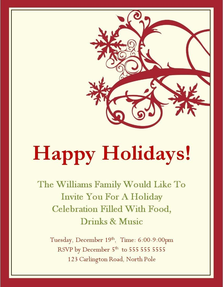 008 Marvelou Free Holiday Invitation Template Example  Online Party ChristmaFull