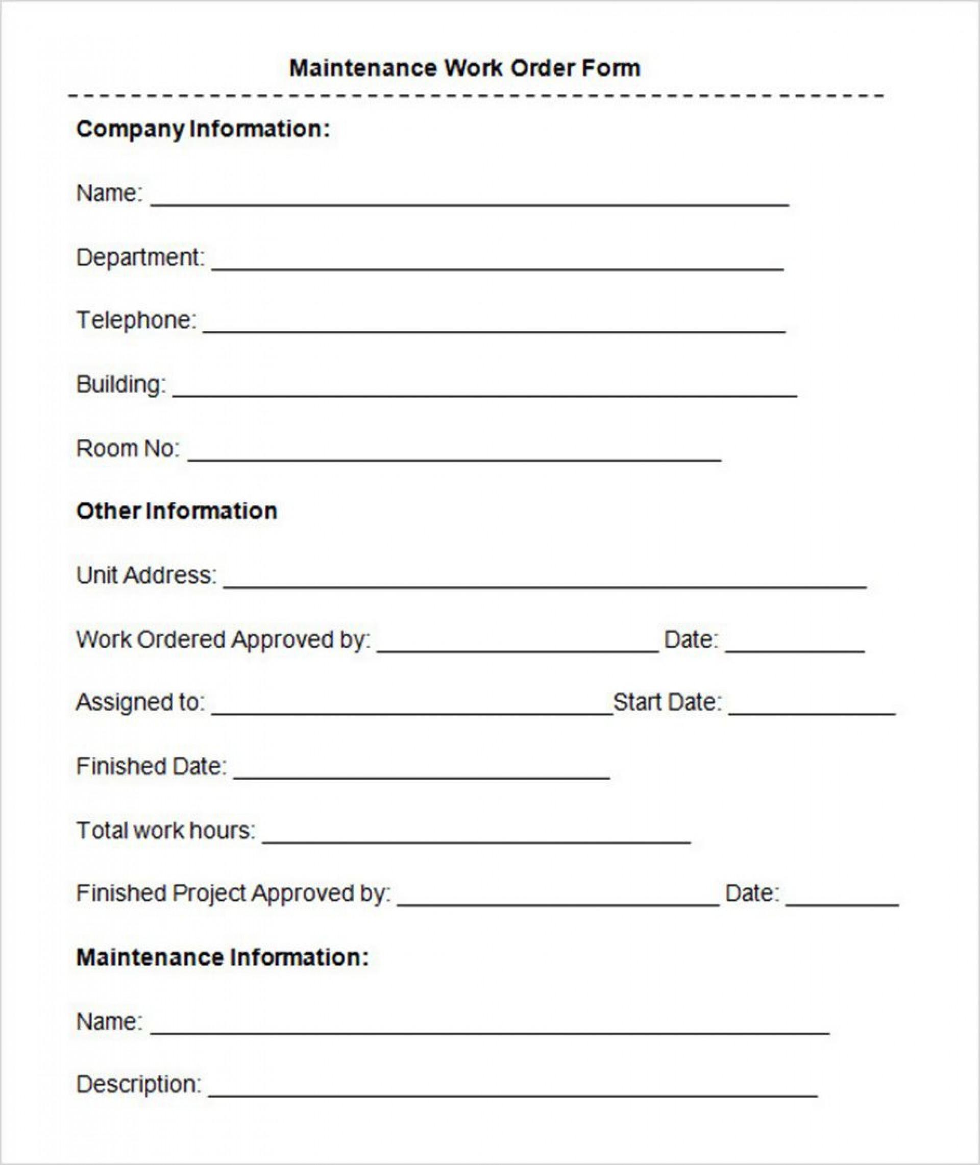 008 Marvelou Maintenance Work Order Template Design  Form Free Sample1920