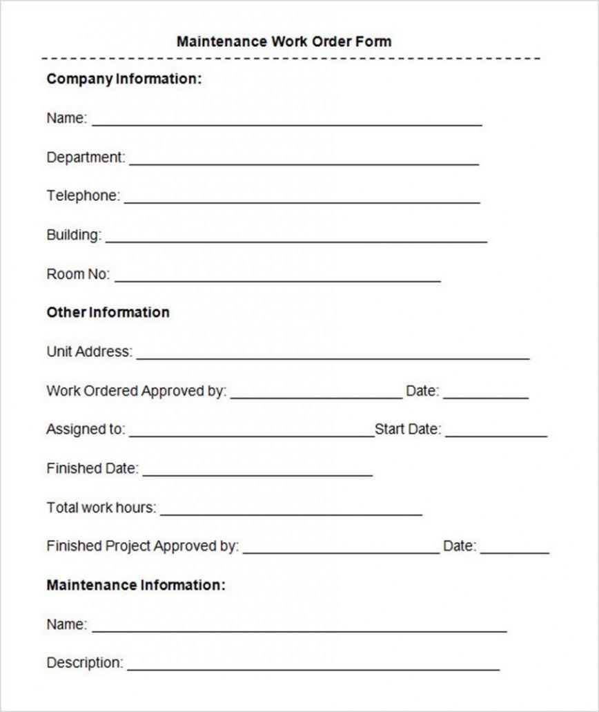 008 Marvelou Maintenance Work Order Template Design  Form Pdf Request Xl