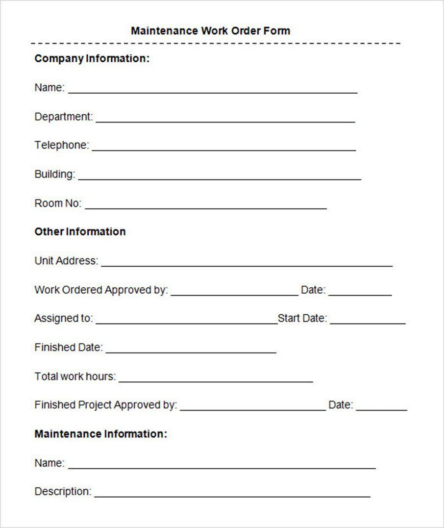 008 Marvelou Maintenance Work Order Template Design  Form Free SampleFull