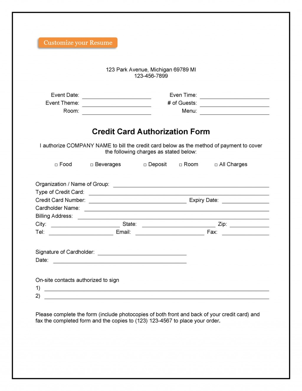 008 Marvelou One Time Credit Card Payment Authorization Form Template Highest Clarity Large