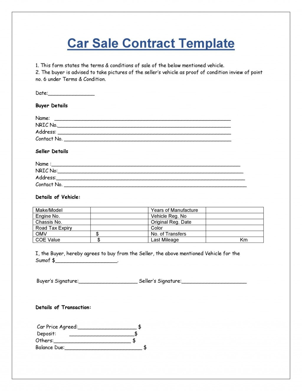 008 Marvelou Vehicle Purchase Order Template Idea  Used Car MotorLarge