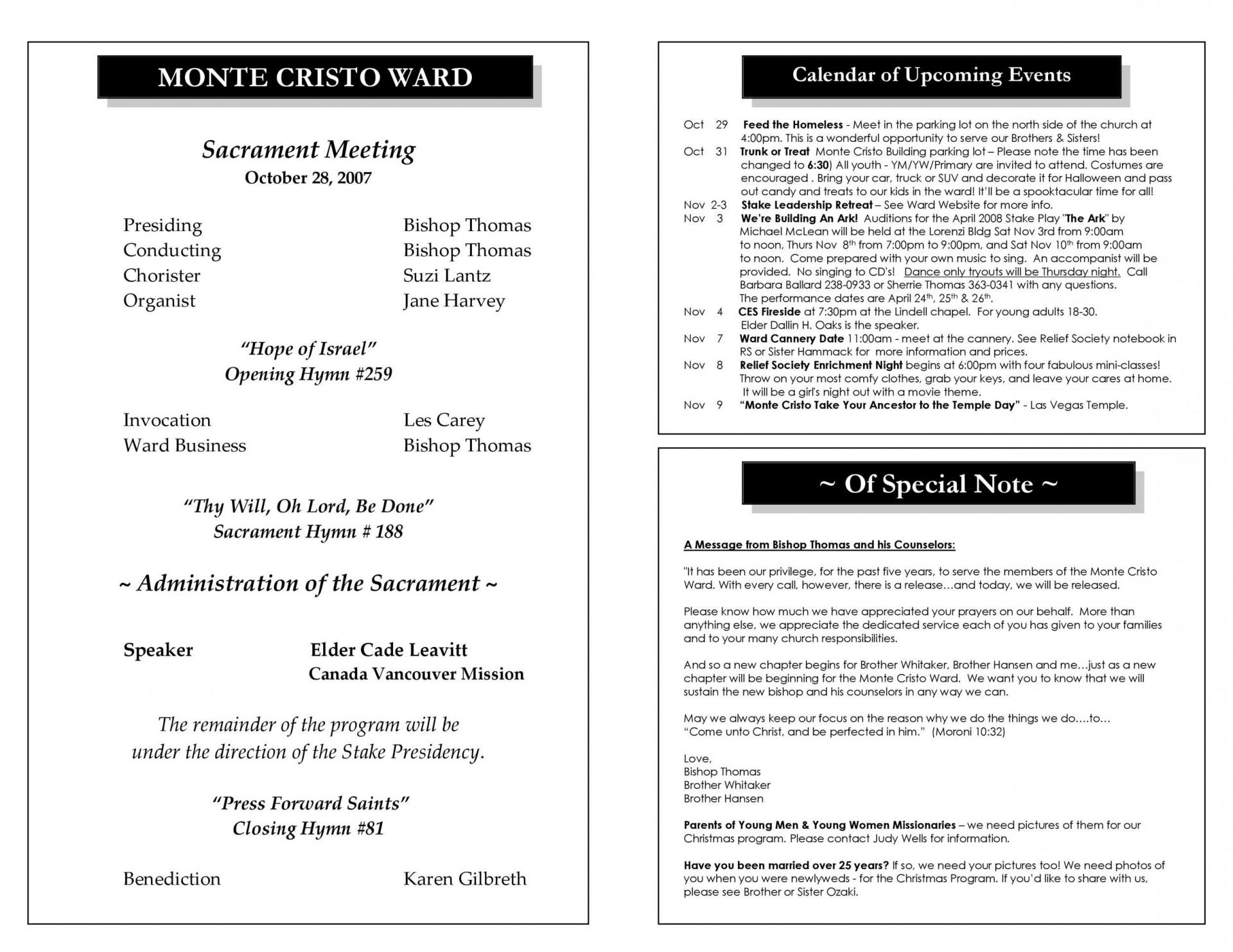 008 Outstanding Church Bulletin Template Word Highest Quality  Program Free Wedding1920