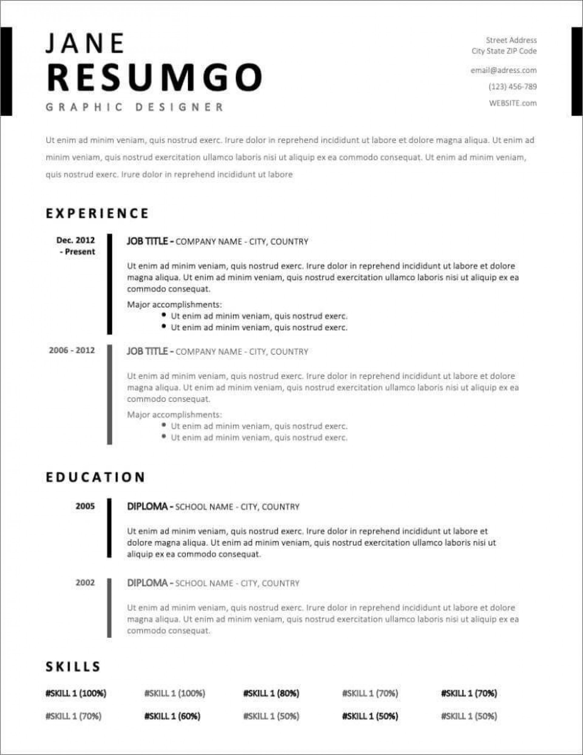 008 Outstanding Easy Free Resume Template Idea  Templates Online Download Quick Builder1920
