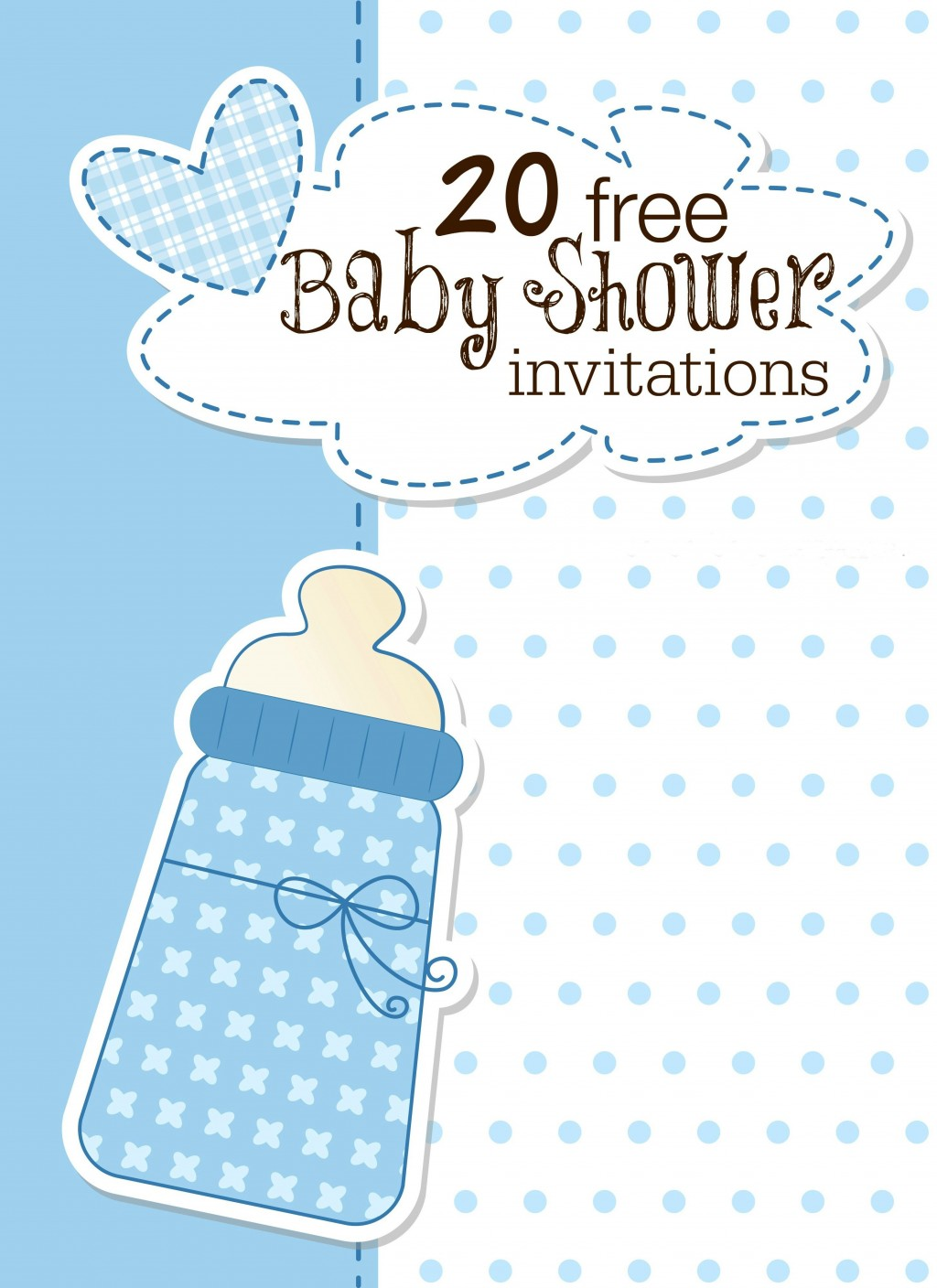 008 Outstanding Free Baby Shower Invitation Printable Boy Sample  For Twin And GirlLarge