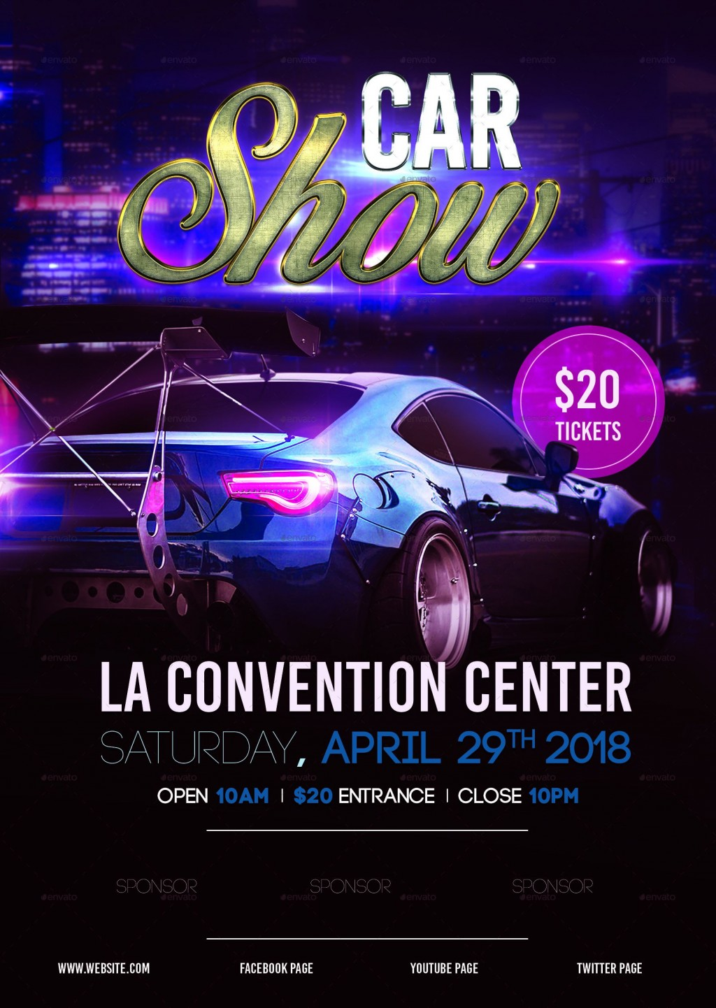 008 Outstanding Free Car Show Flyer Template High Resolution  Psd And BikeLarge