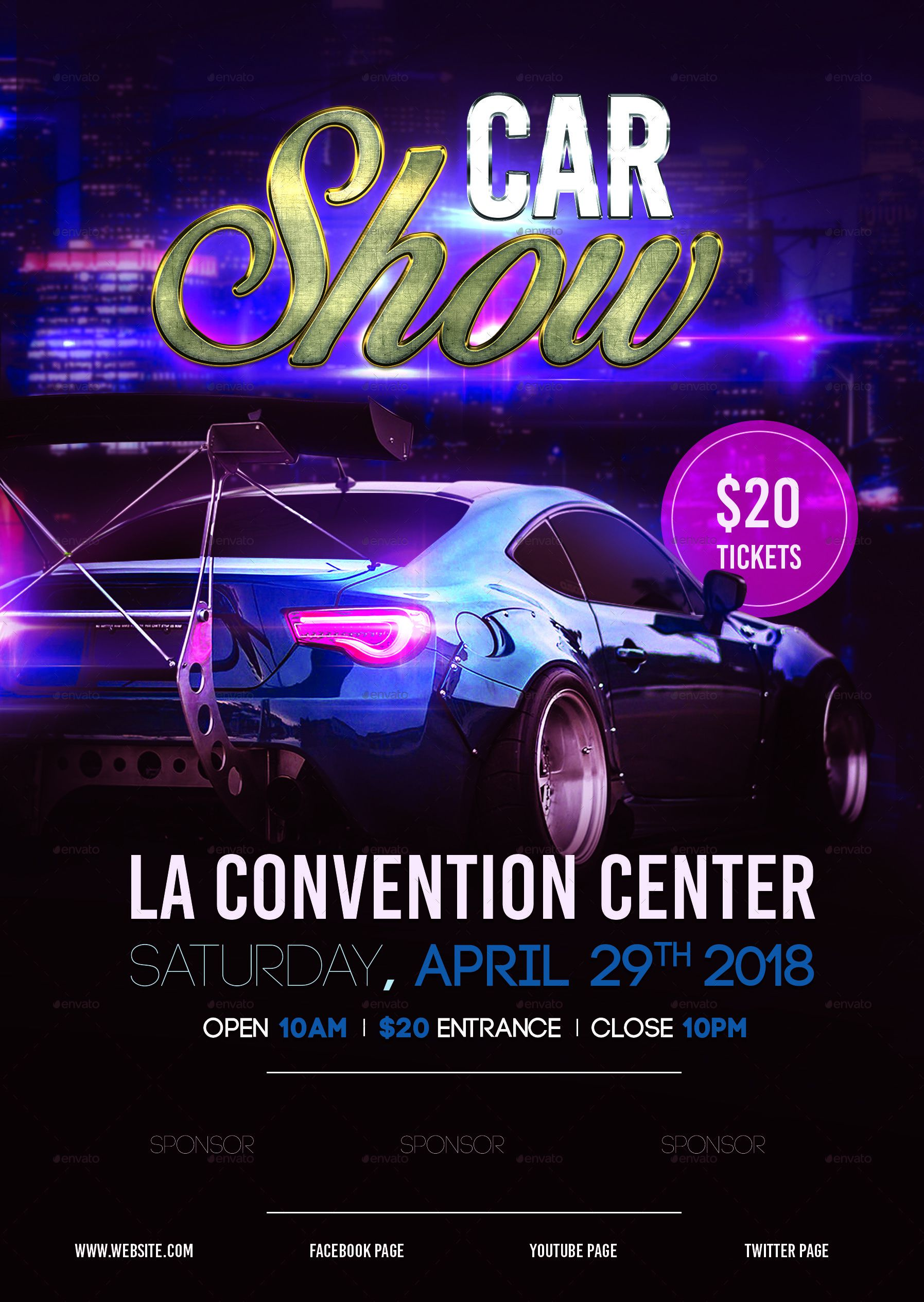 008 Outstanding Free Car Show Flyer Template High Resolution  Psd And BikeFull