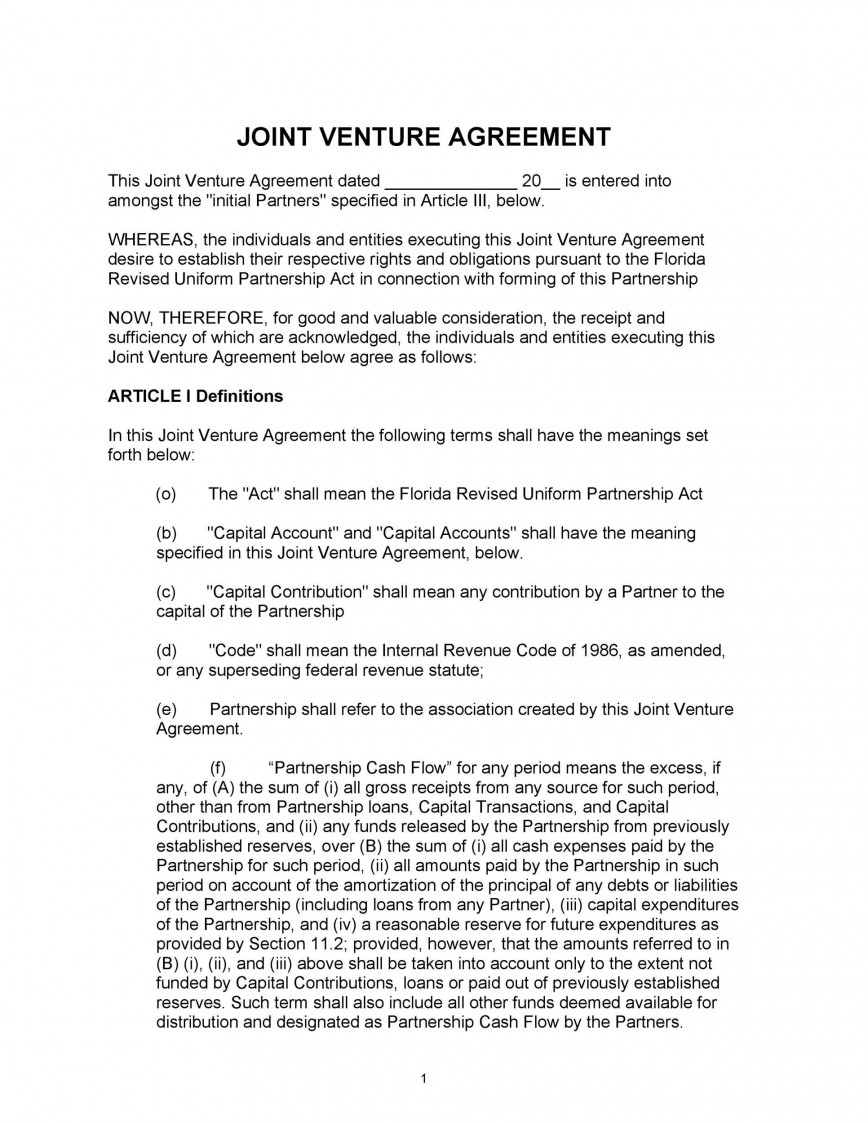 008 Outstanding Joint Venture Agreement Format Pdf Sample  Template