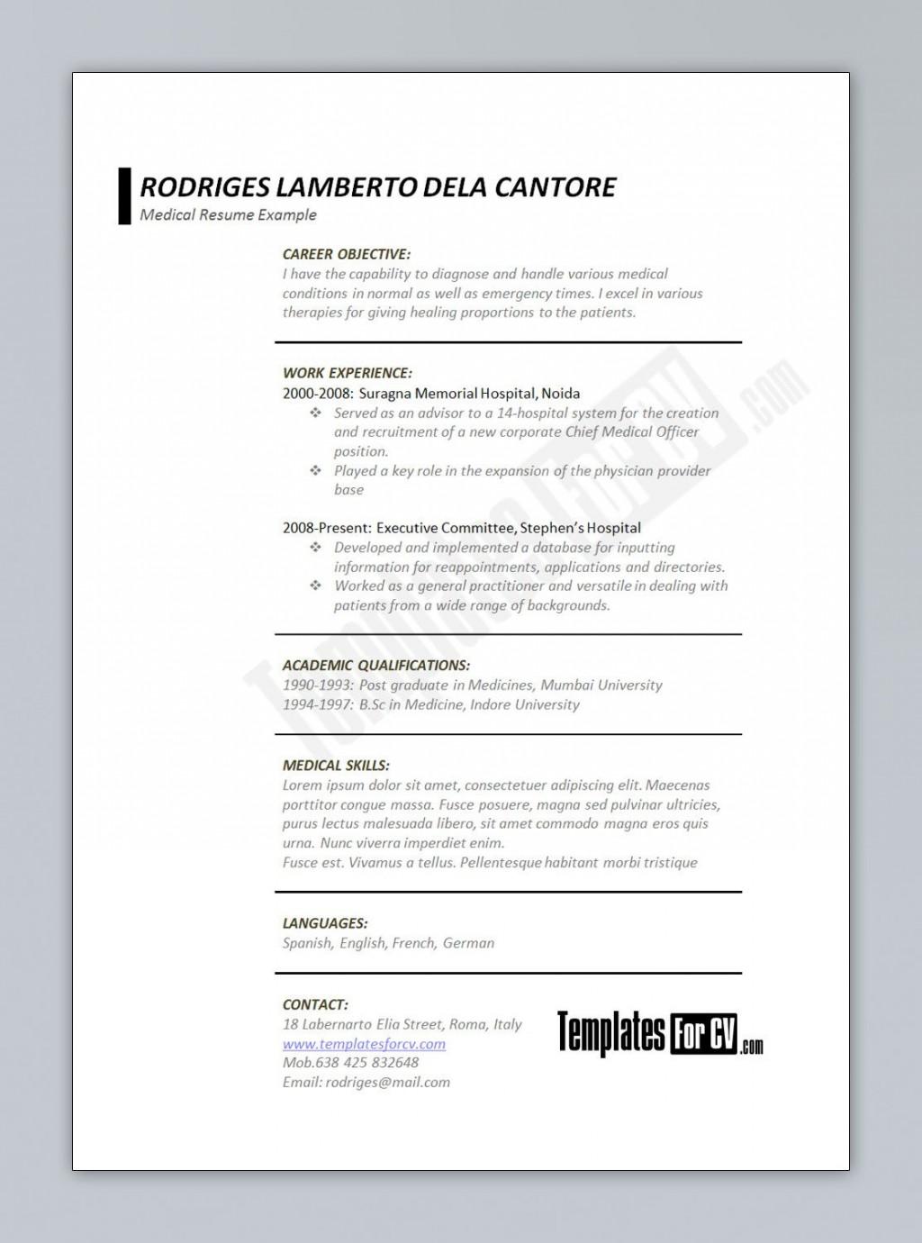 008 Outstanding Medical Resume Template Free Idea  Receptionist Cv CoderLarge