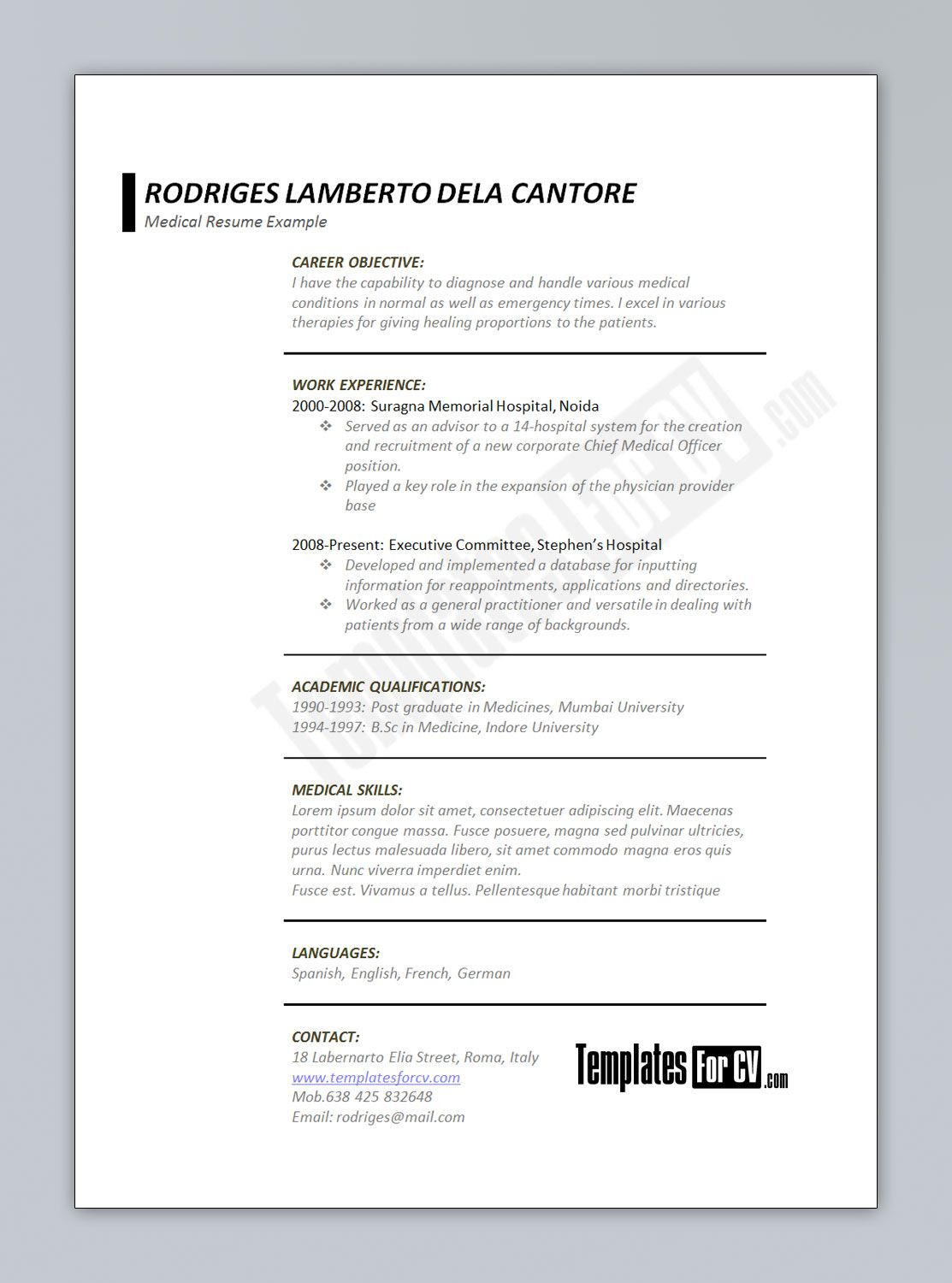 008 Outstanding Medical Resume Template Free Idea  Receptionist Cv CoderFull