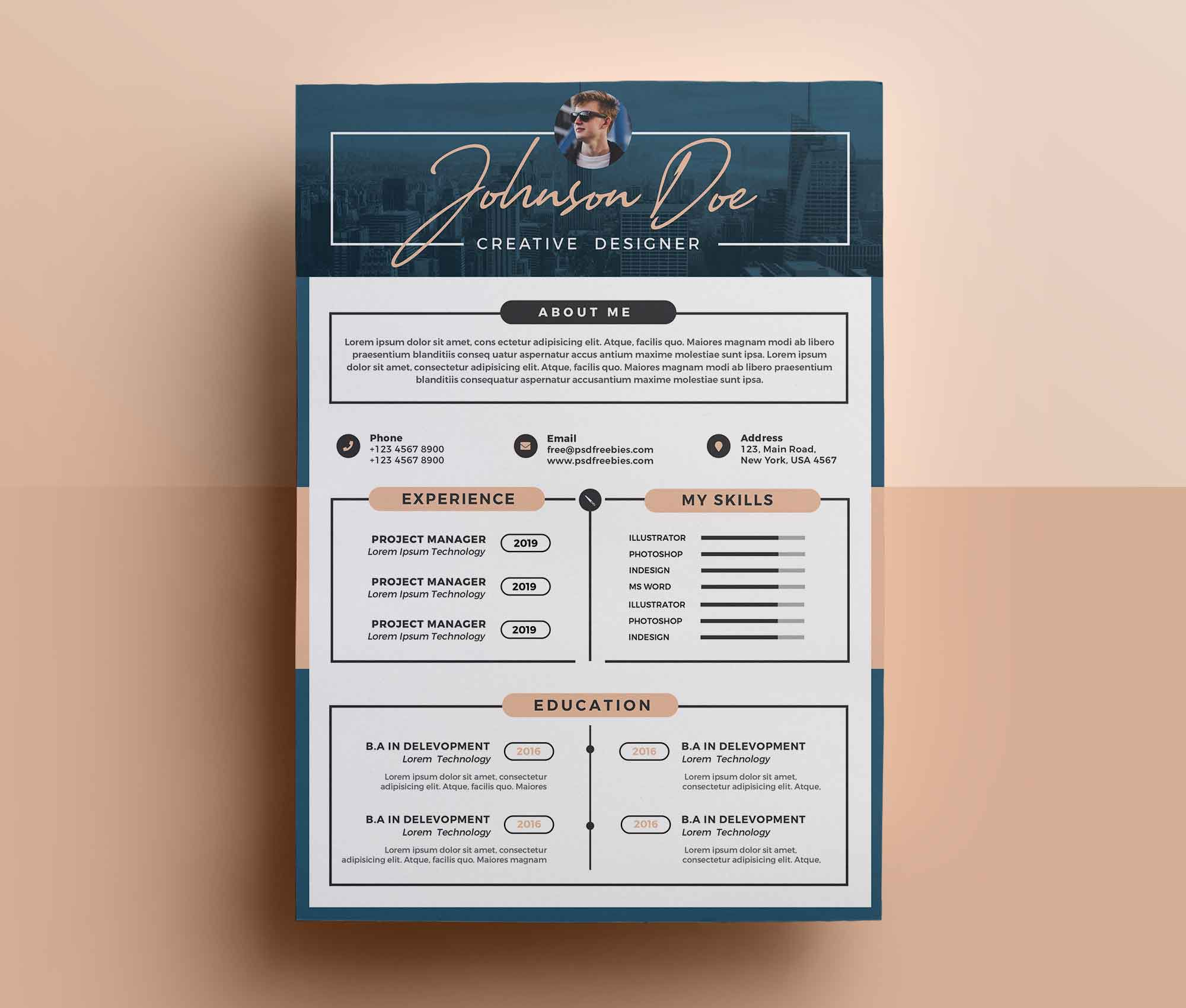008 Outstanding Photoshop Cv Template Free Picture  Modern Psd Resume DownloadFull
