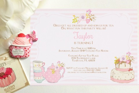 008 Outstanding Tea Party Invitation Template High Definition  Wording Vintage Free Sample480