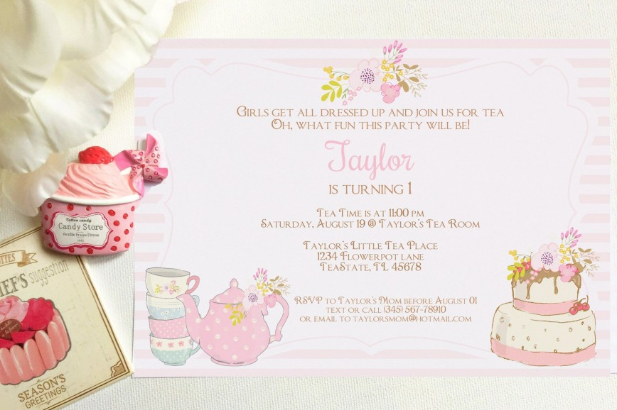 008 Outstanding Tea Party Invitation Template High Definition  Wording Vintage Free Sample868