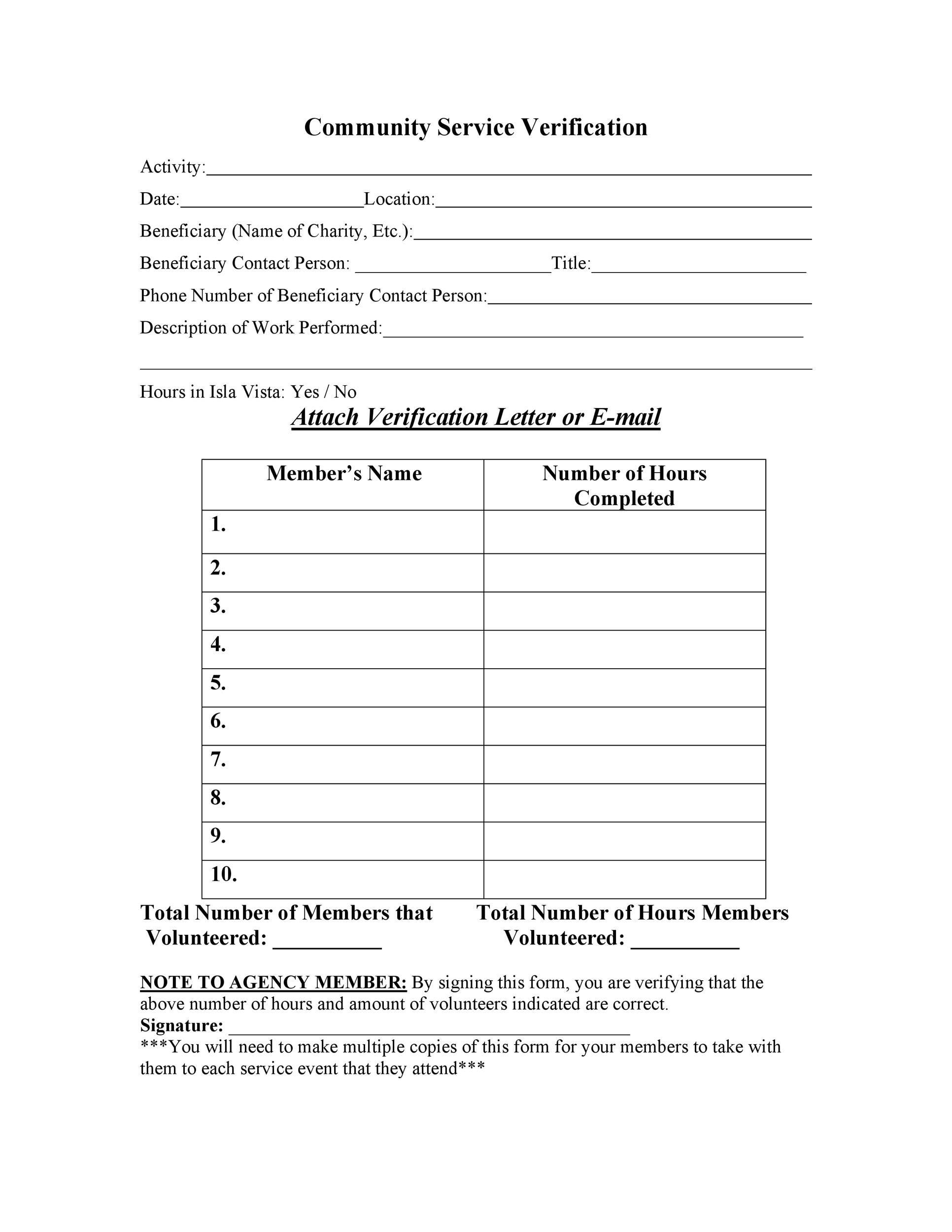 008 Outstanding Volunteer Hour Form Template Sample  Service Community PdfFull