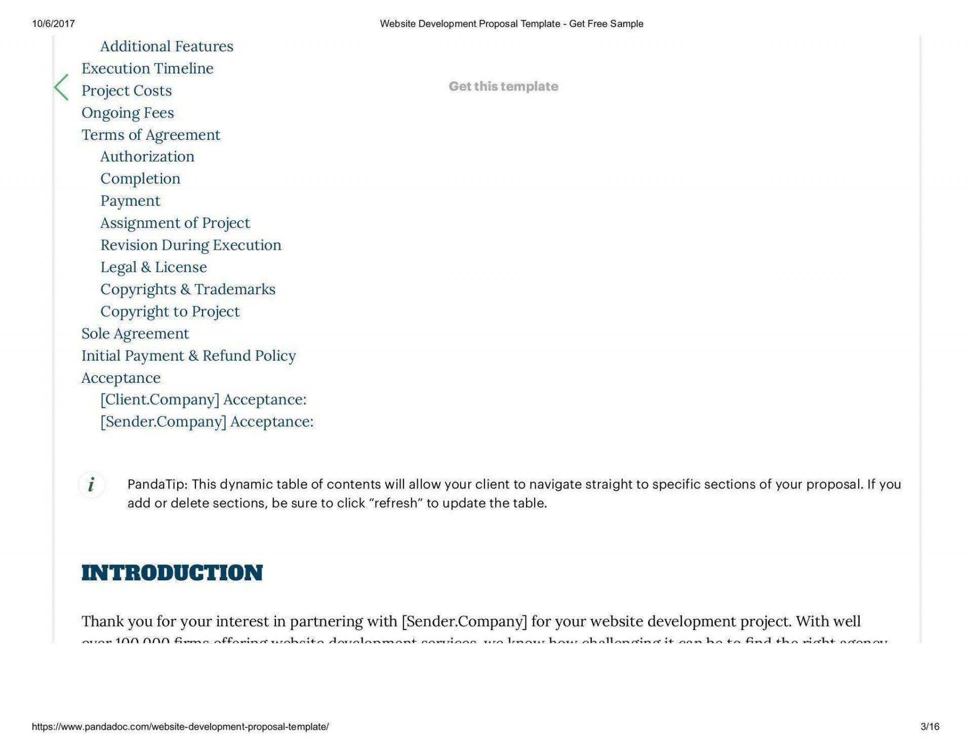 008 Outstanding Website Development Proposal Template Free Concept  WordFull