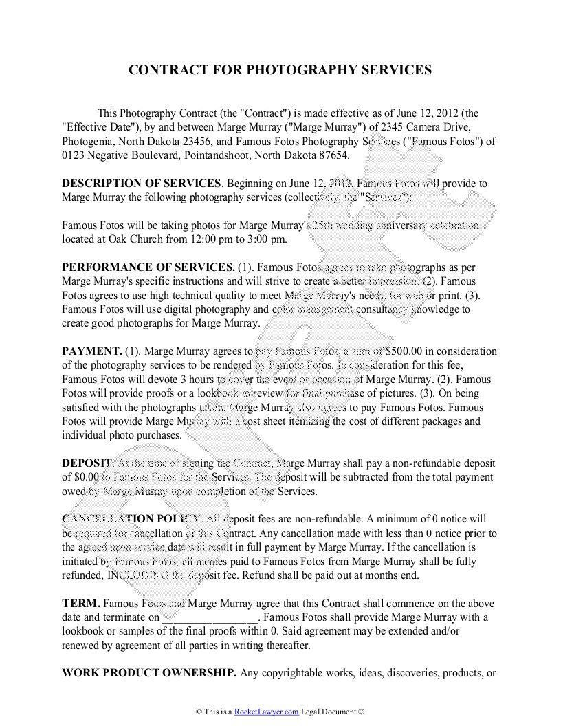 008 Outstanding Wedding Photography Contract Templates. Sample  Template Pdf Photographer UkFull