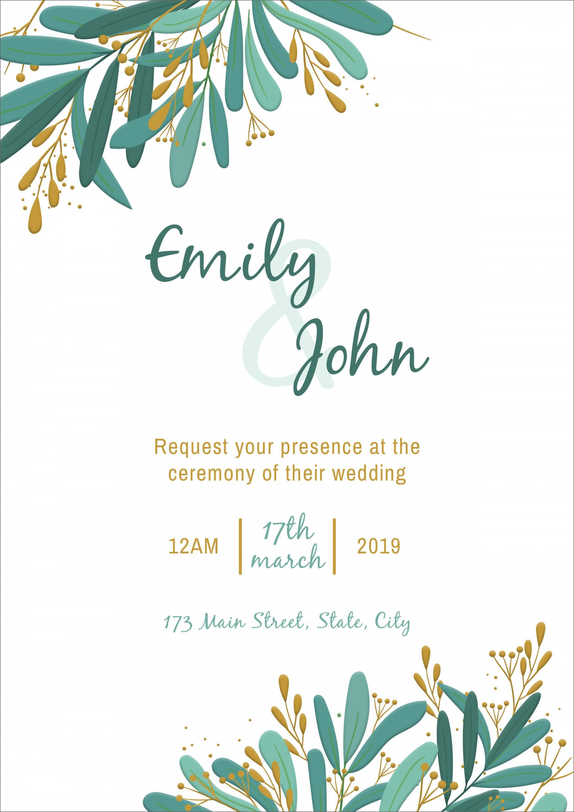 008 Phenomenal Blank Wedding Invitation Template Picture  Templates Free Download Printable Royal Blue1920