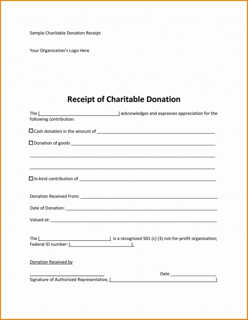 008 Phenomenal Charitable Tax Receipt Template Inspiration  DonationLarge