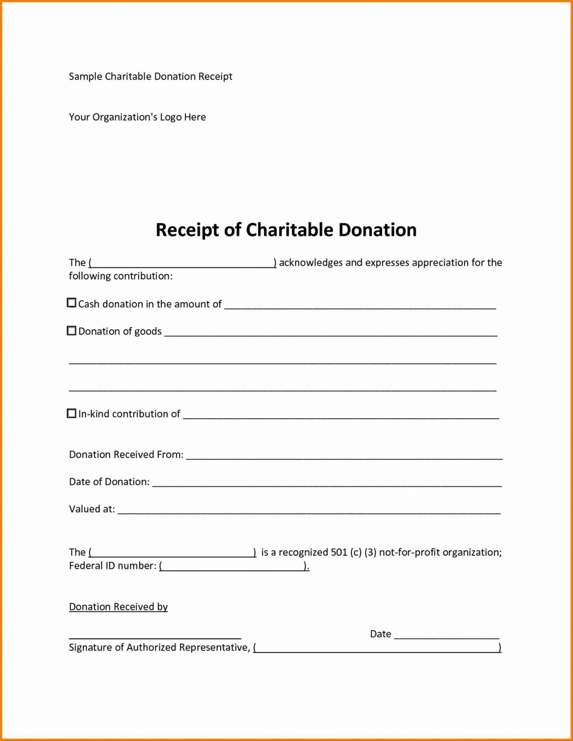 008 Phenomenal Charitable Tax Receipt Template Inspiration  Donation1920
