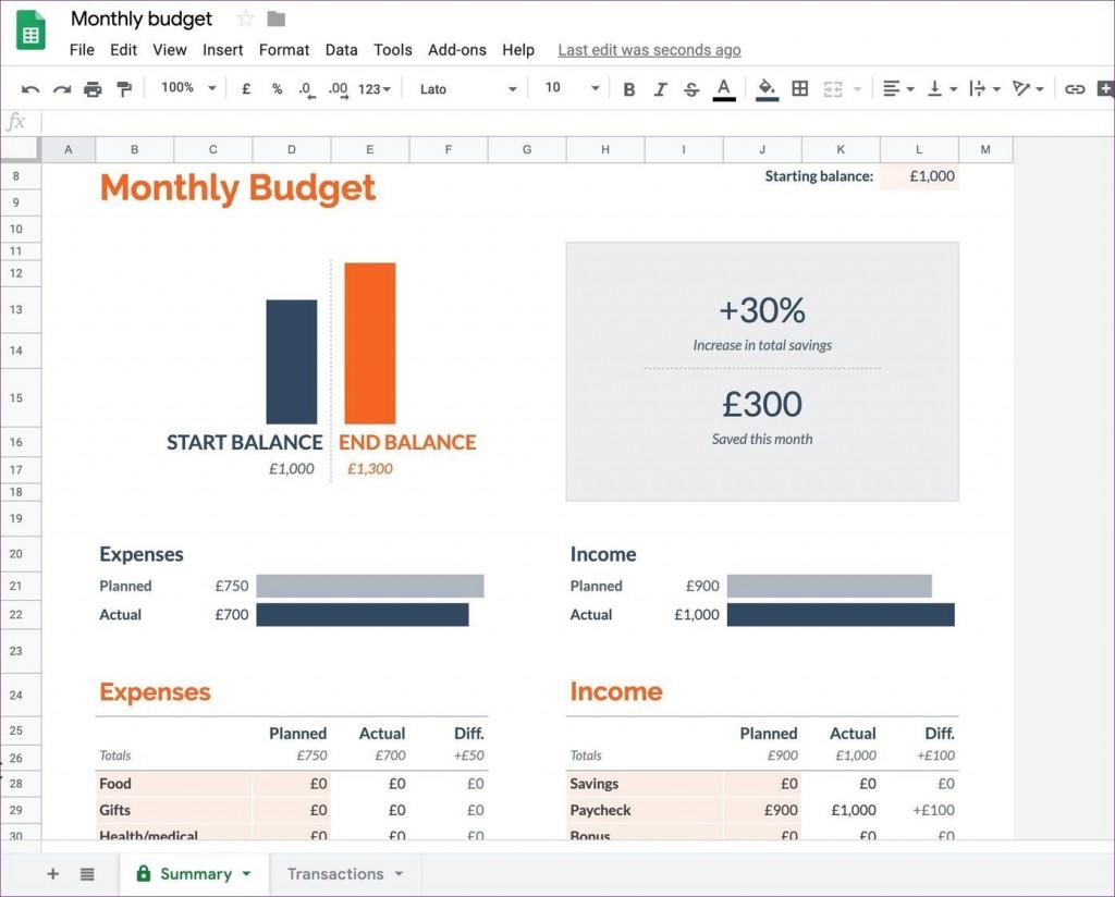 008 Phenomenal Free Monthly Budget Template Google Doc Image  DocsLarge