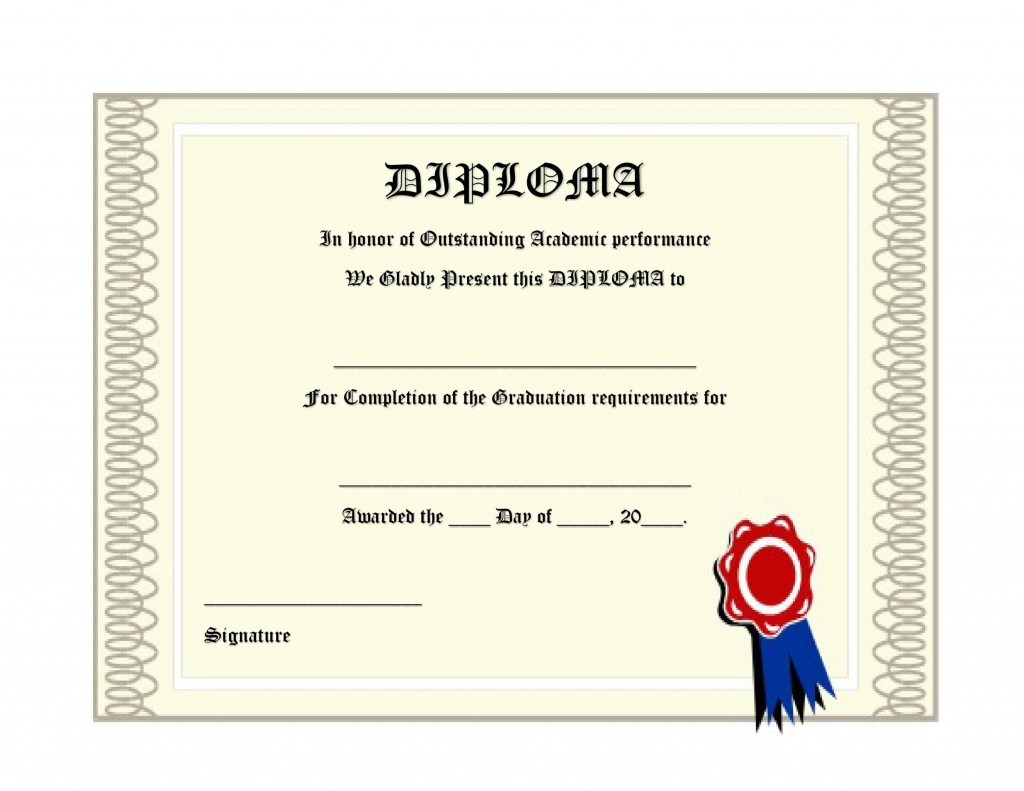 008 Phenomenal High School Diploma Template Def  With Seal Homeschool Free Printable BlankLarge