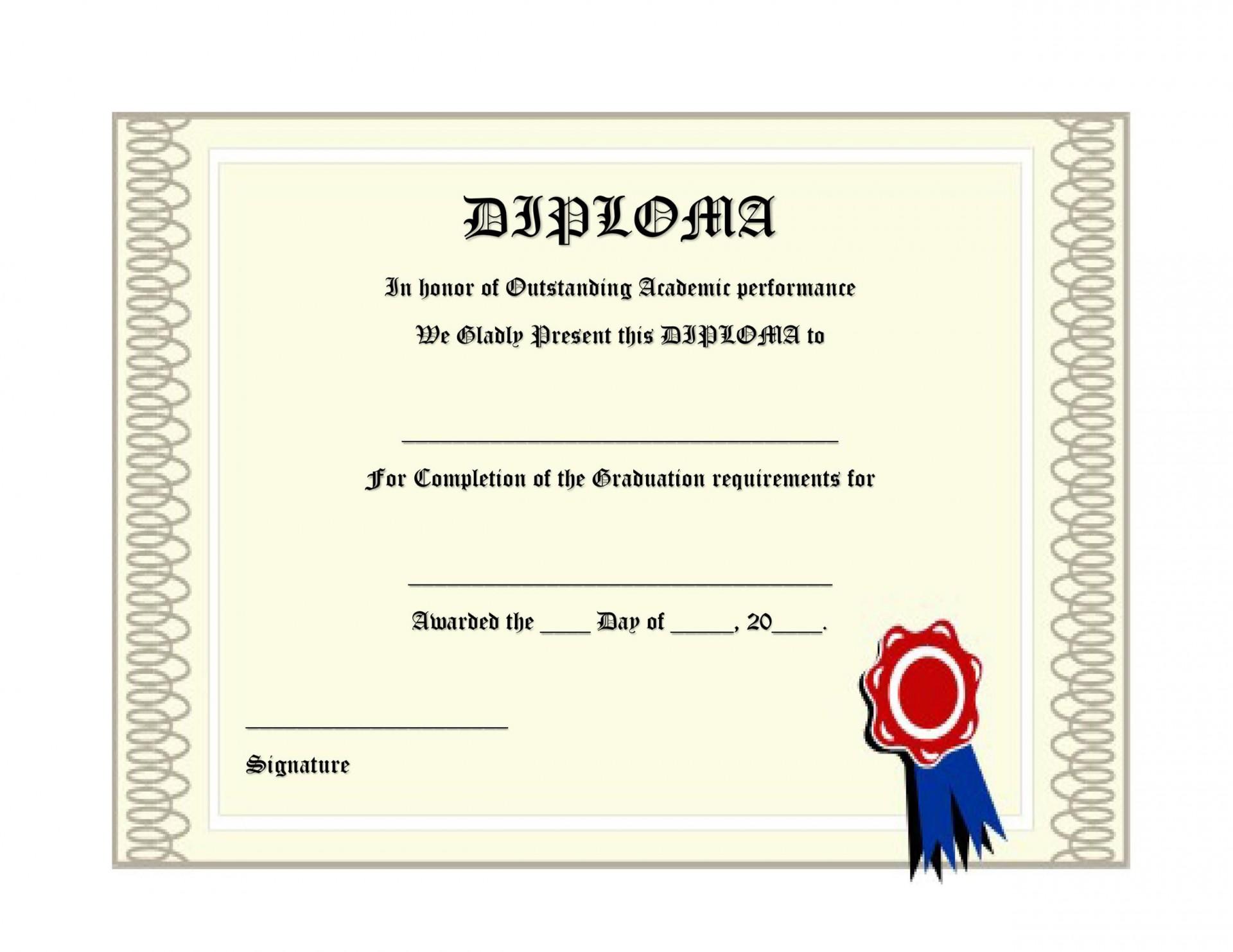 008 Phenomenal High School Diploma Template Def  With Seal Homeschool Free Printable Blank1920