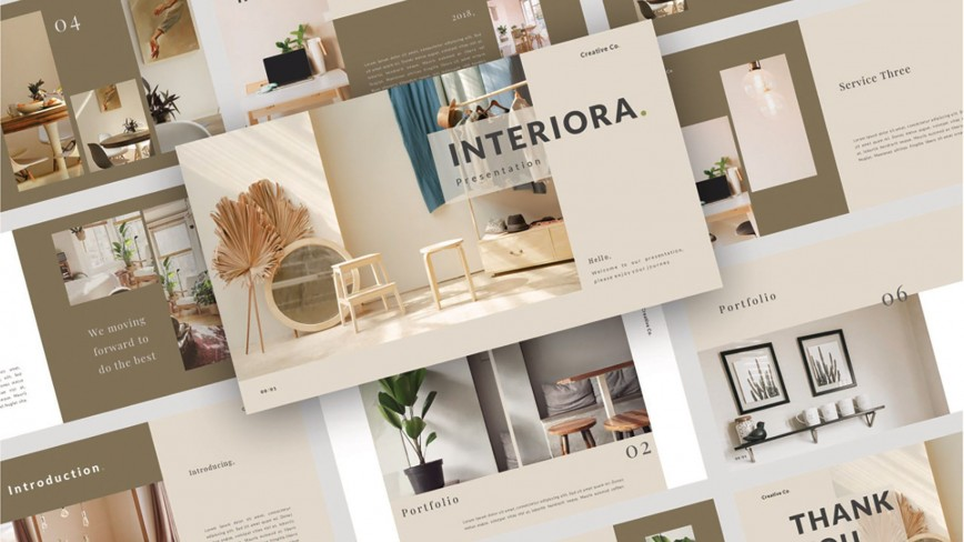 008 Phenomenal Interior Design Portfolio Template Image  Layout Free Download Ppt