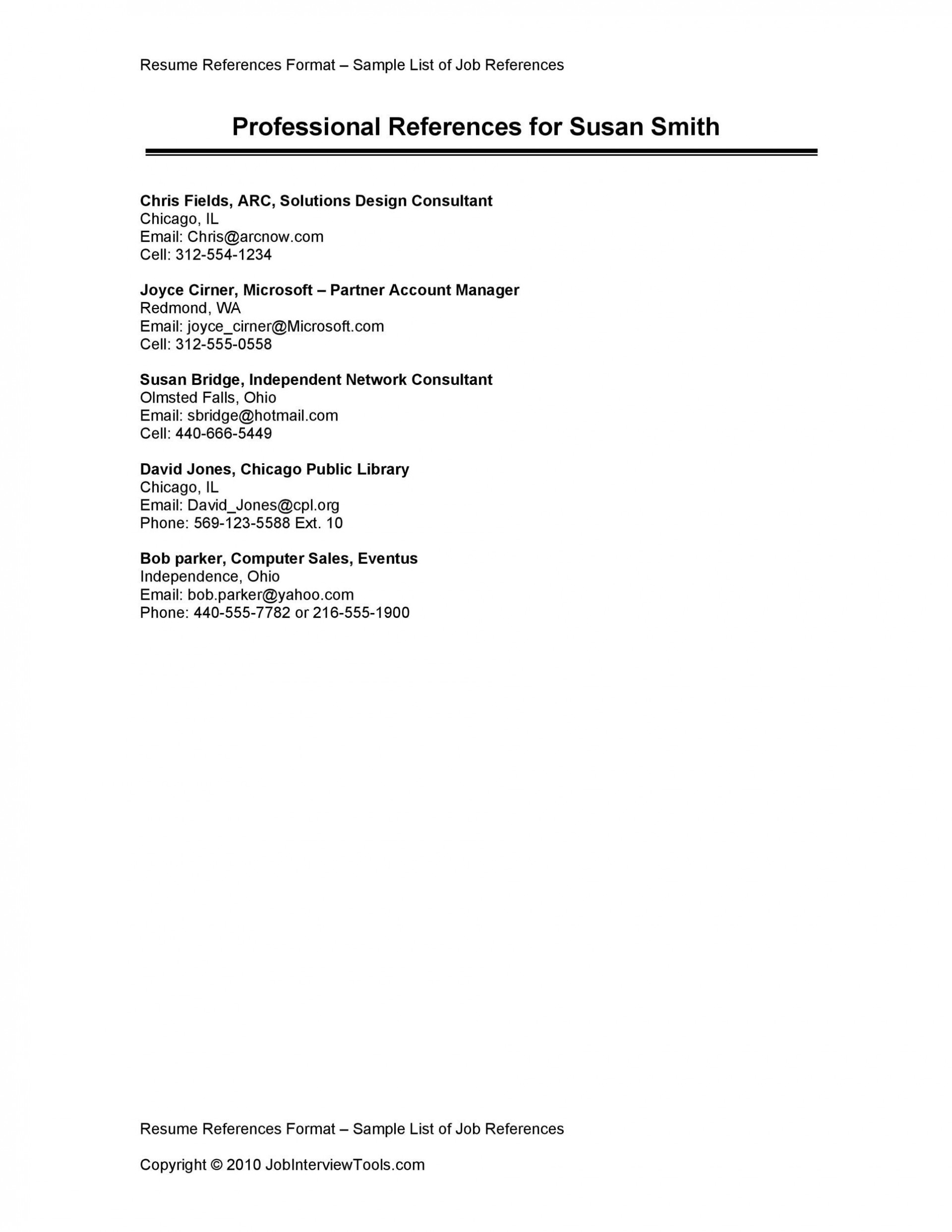 008 Phenomenal List Of Reference Template Inspiration  Employment Format Professional Free1920