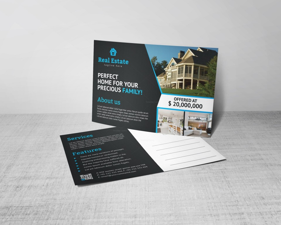 008 Phenomenal Real Estate Postcard Template Concept  Agent Free Microsoft Word Investor960