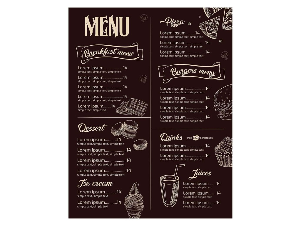 008 Phenomenal Restaurant Menu Template Free Download Design Large