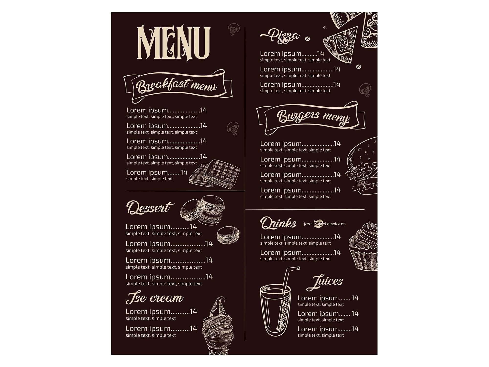 008 Phenomenal Restaurant Menu Template Free Download Design Full