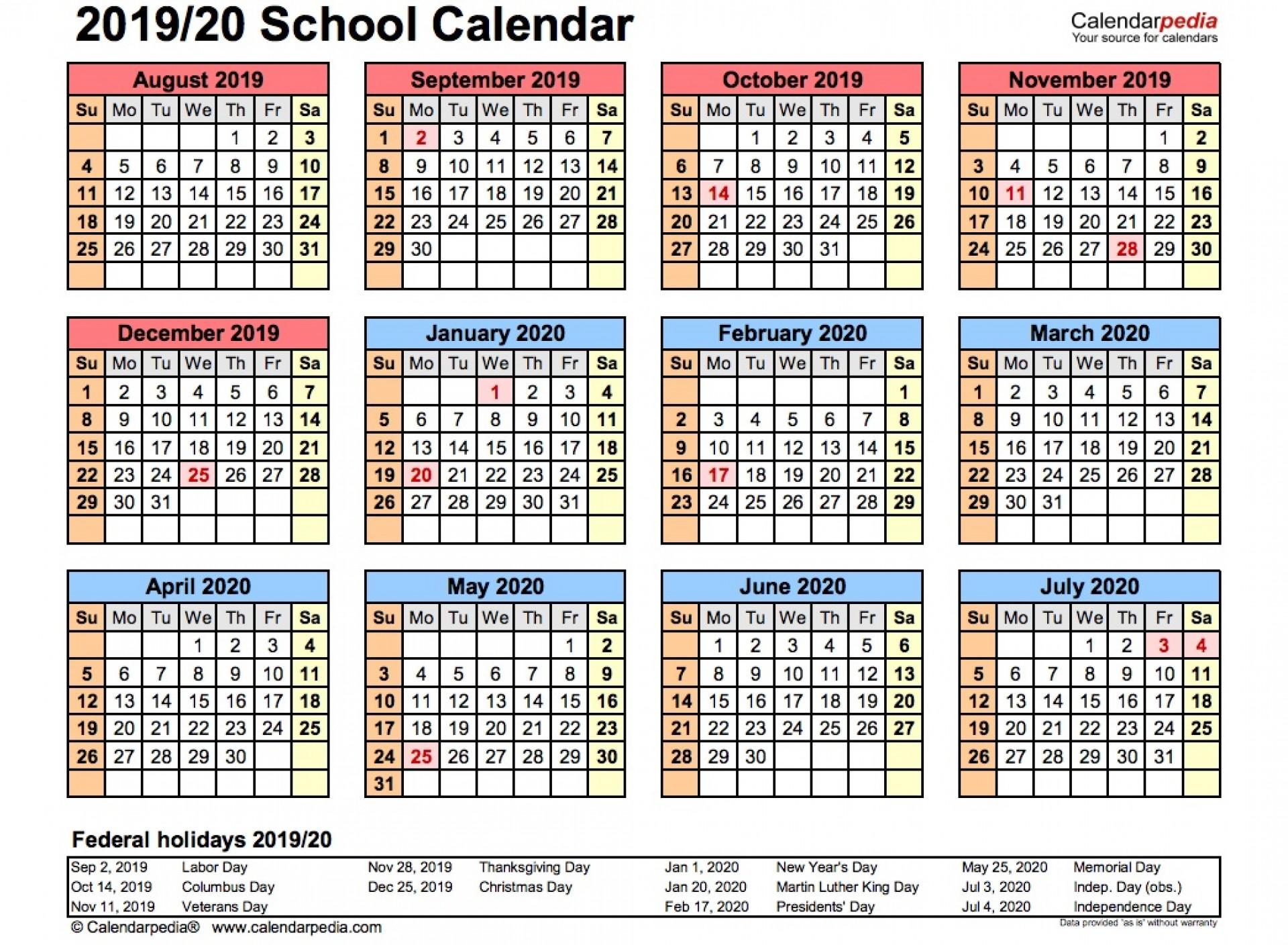 008 Phenomenal School Year Calendar Template High Resolution  Excel 2019-20 Word1920
