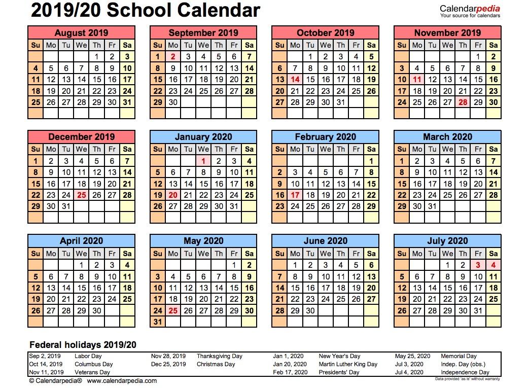 008 Phenomenal School Year Calendar Template High Resolution  Excel 2019-20 WordFull