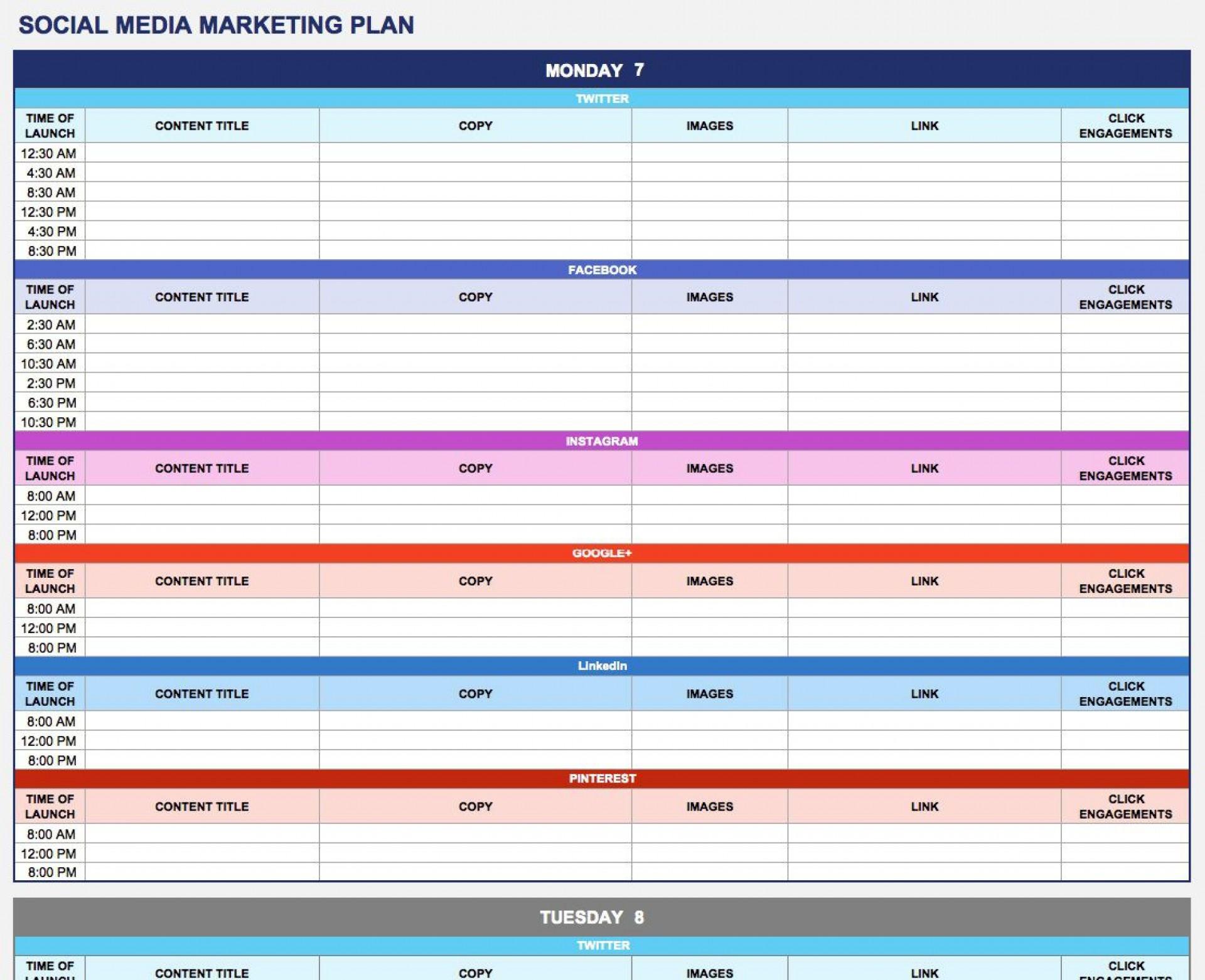 008 Phenomenal Social Media Plan Example Pdf Highest Clarity  Template Marketing Sample1920