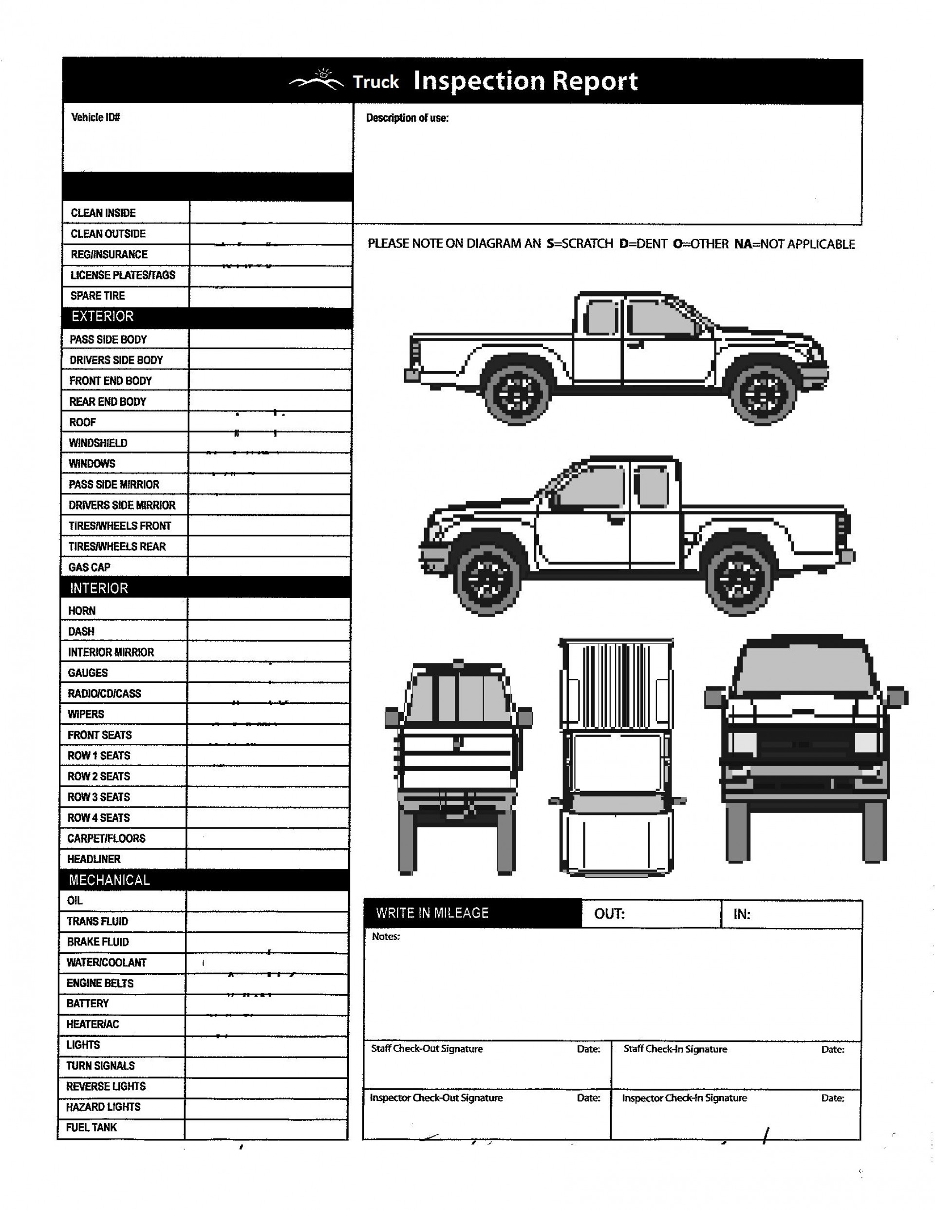 008 Phenomenal Truck Inspection Form Template Image  Commercial Vehicle Maintenance Free1920