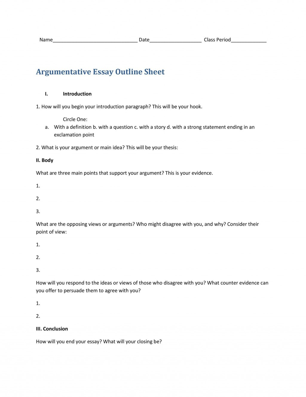 008 Rare College Argumentative Essay Outline Template Picture  High SchoolLarge