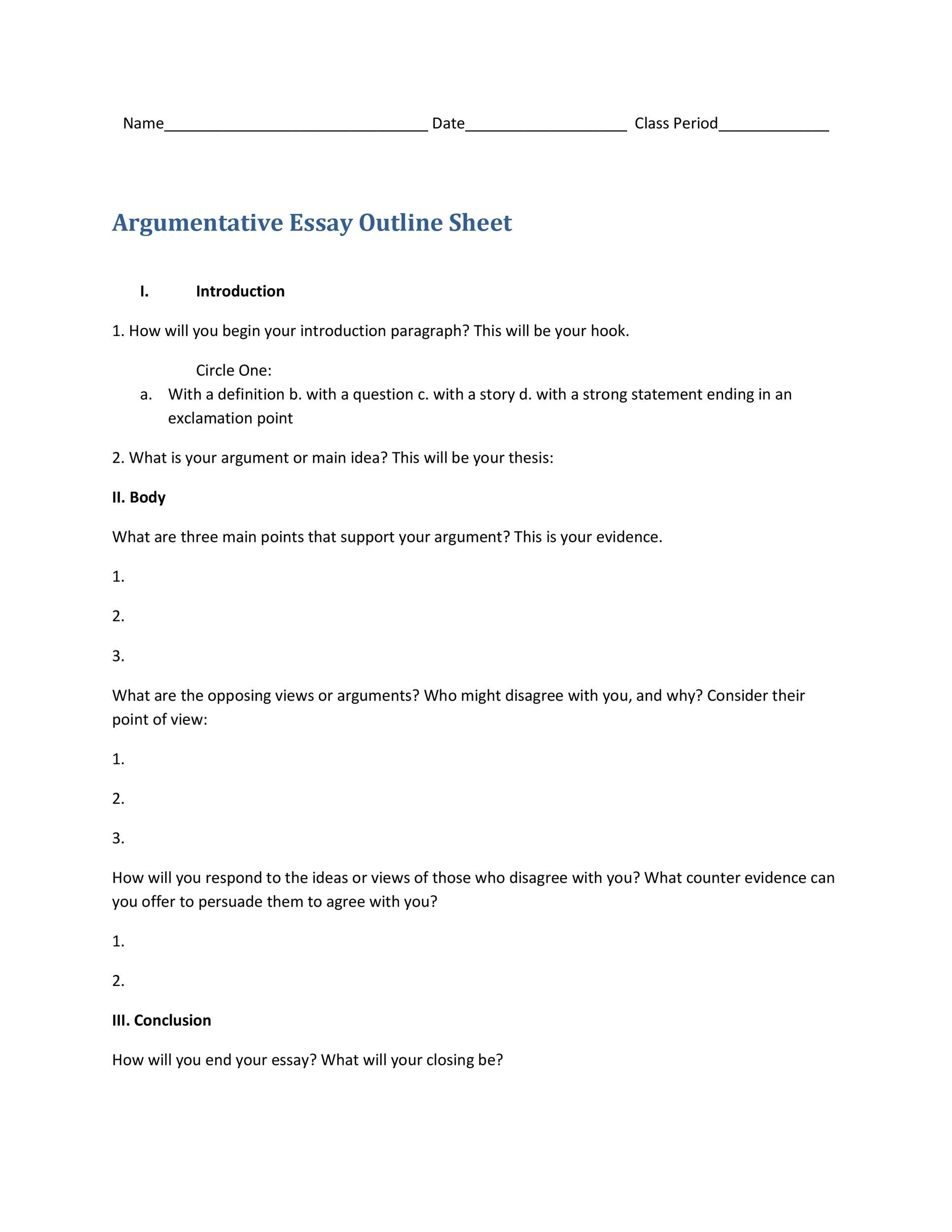 008 Rare College Argumentative Essay Outline Template Picture  High SchoolFull