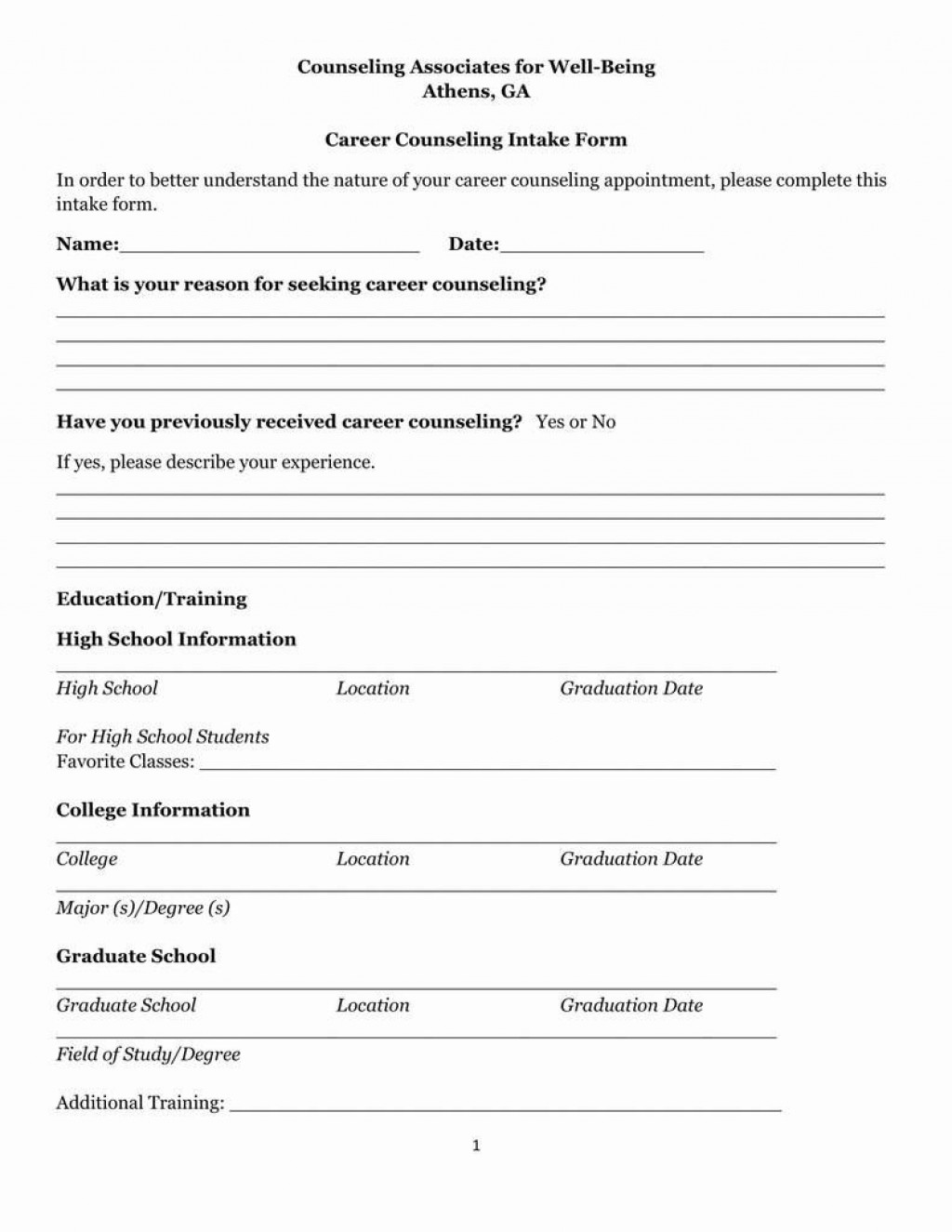 008 Rare Counseling Intake Form Template High Resolution  Templates Therapy Massage FreeLarge