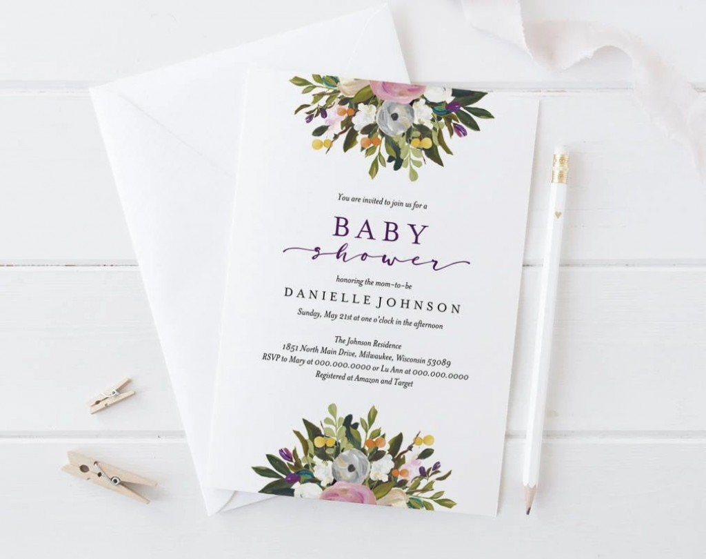 008 Rare Diy Baby Shower Invitation Template Picture  Templates DiaperLarge