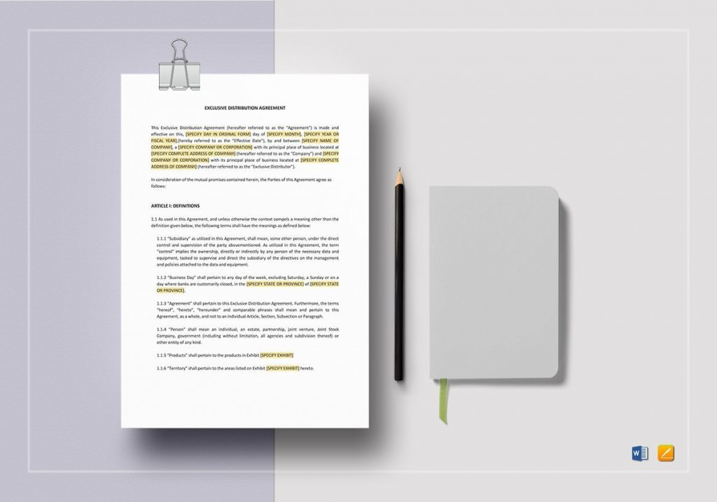 008 Rare Exclusive Distribution Agreement Template Word Photo  FormatLarge