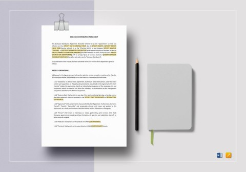 008 Rare Exclusive Distribution Agreement Template Word Photo  Format480