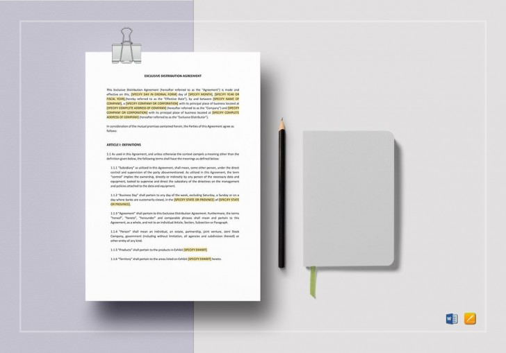 008 Rare Exclusive Distribution Agreement Template Word Photo  Format728