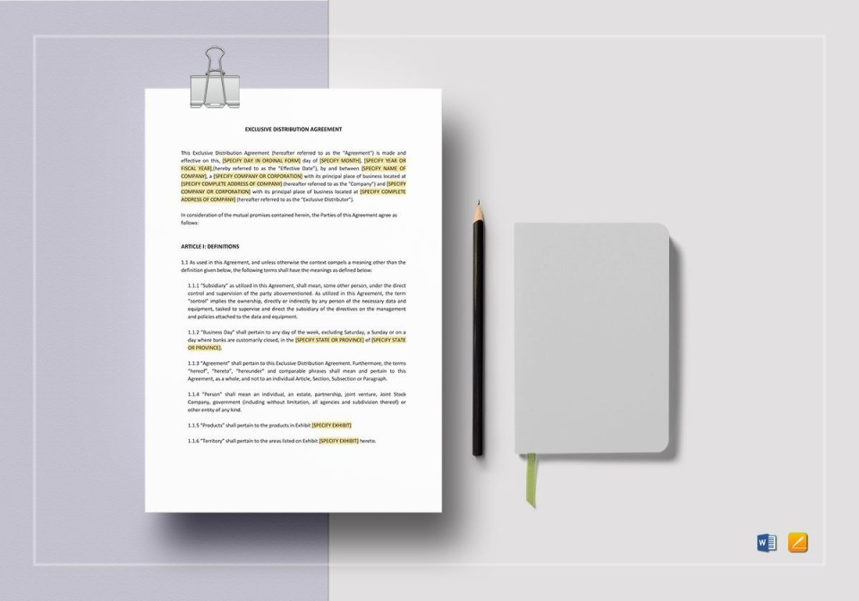 008 Rare Exclusive Distribution Agreement Template Word Photo  Format960