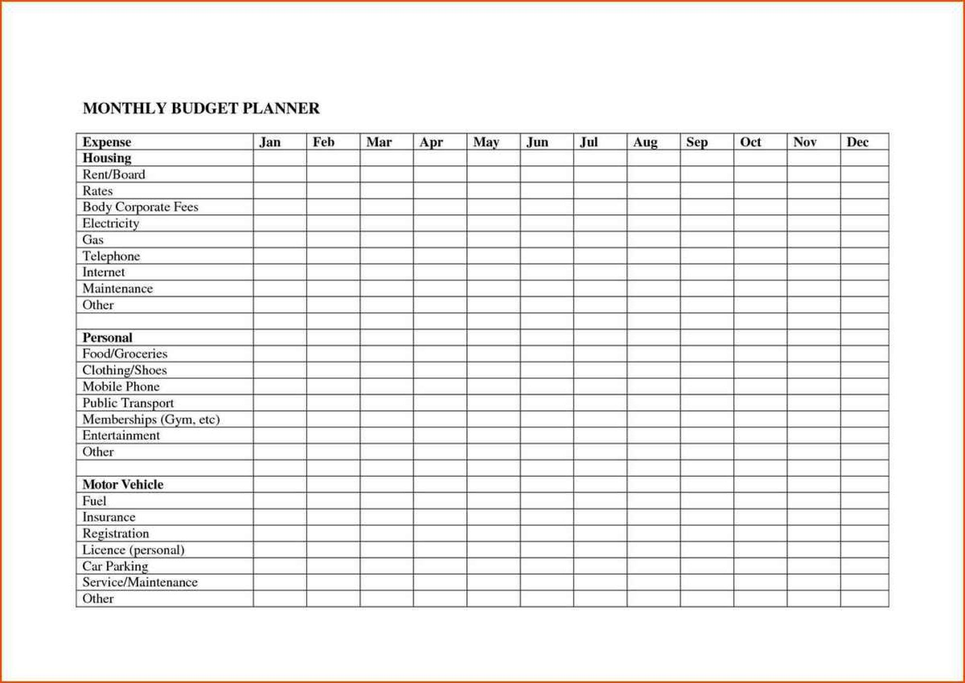 008 Rare Free Printable Monthly Budget Form Design  Simple Template Blank Household SheetFull