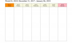 008 Rare Free Printable Weekly Calendar Template 2018 Sample