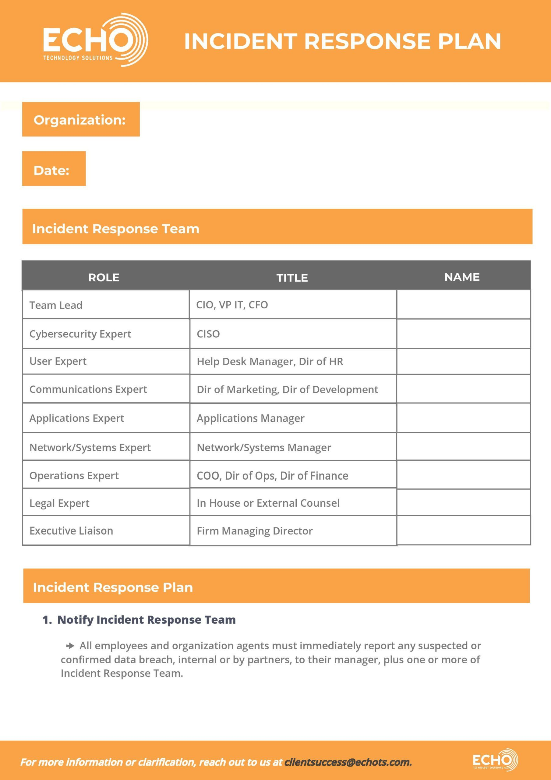 008 Rare Incident Response Plan Template Highest Clarity  Example San For Small Busines PdfFull