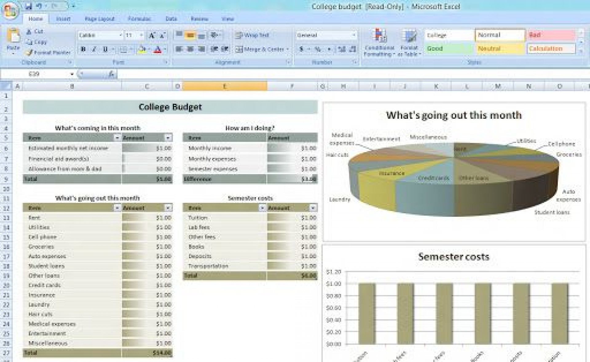 008 Rare Monthly Budget Template Excel 2007 Sample  Personal1920