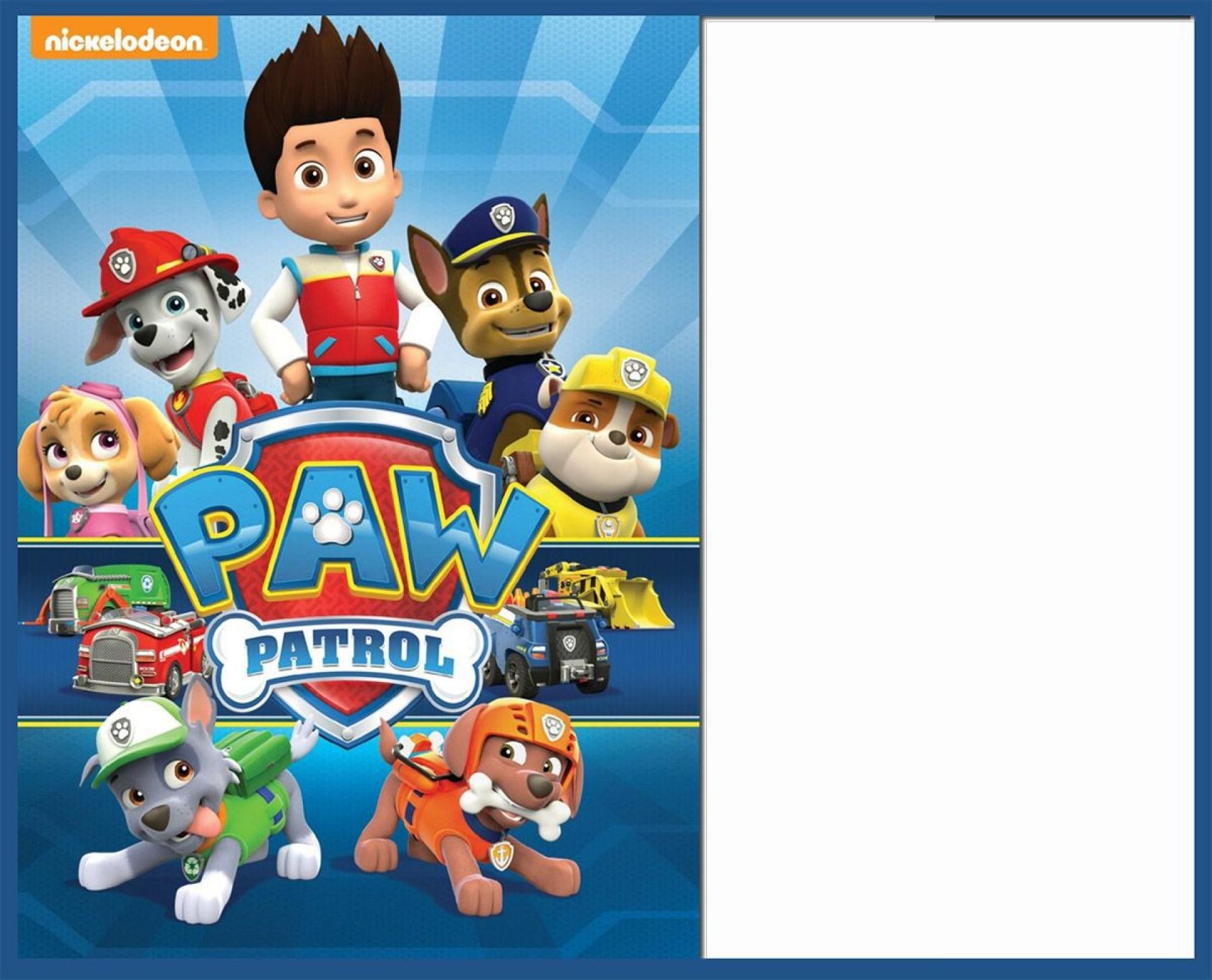 008 Rare Paw Patrol Birthday Invitation Template Concept  Party Invite Wording Skye Free1920